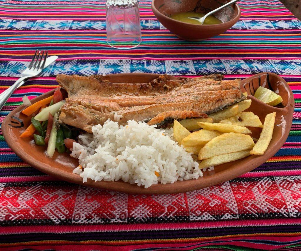 Truite pêchée dans le Lac Titicaca