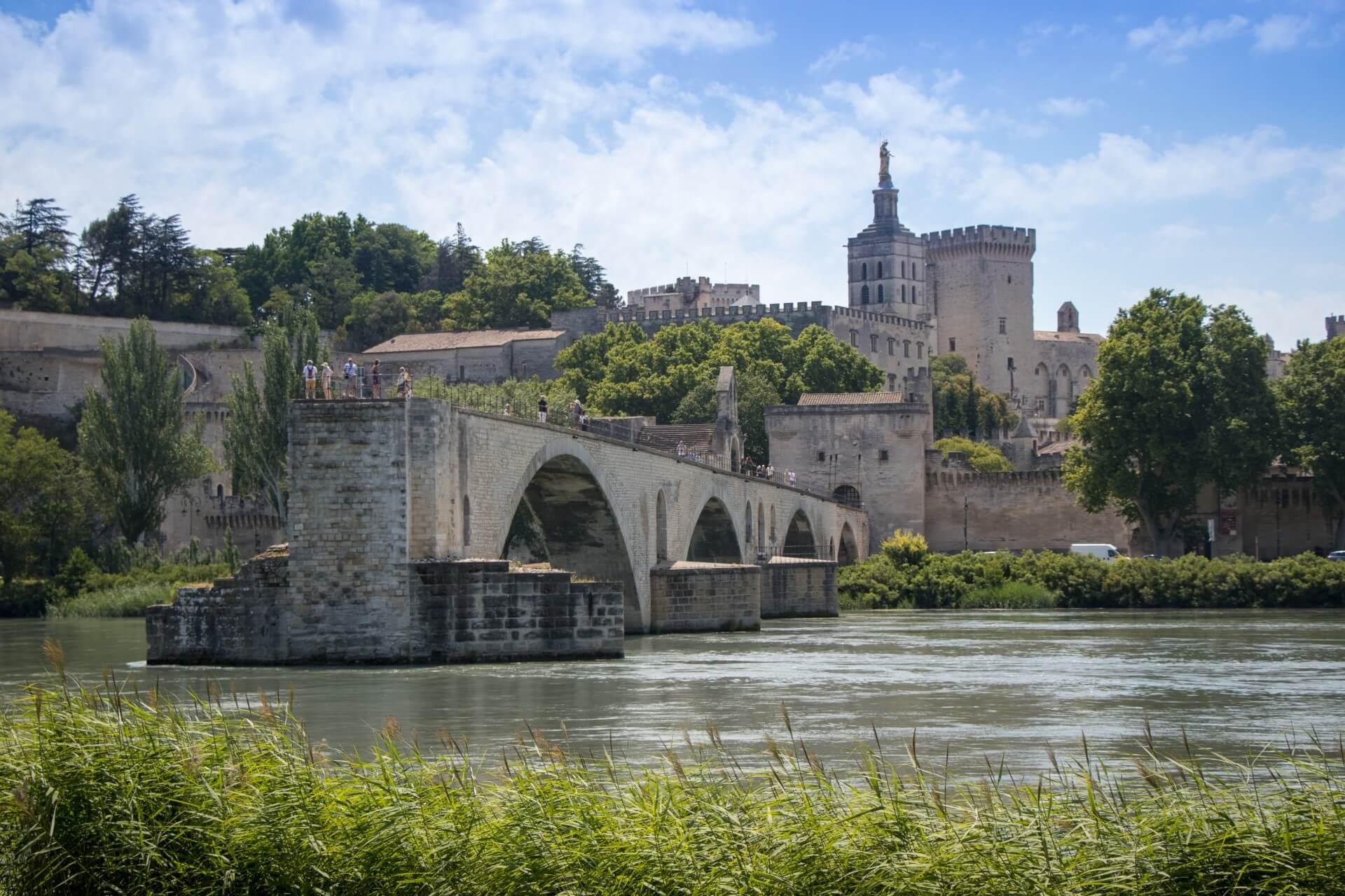 Pont Saint Benezet (Pont Avignon) depuis l'ile de la Barthelasse